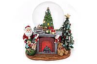 """Декоративный водяной шар Камин 20см с музыкой """"Jingle Bells"""", движущимся поездом,   LED-подсвет"""