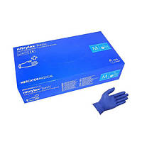 Перчатки нитрил синие Mercator Medical Protect/Nitrylex Basic 100пар/упак (M)