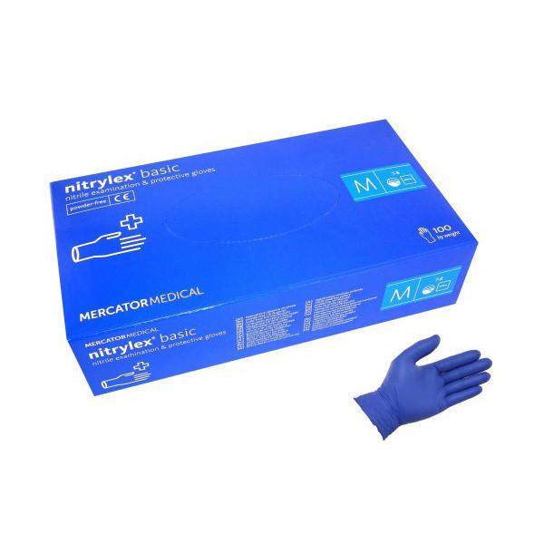 Рукавички нітрил сині Mercator Medical Protect/Nitrylex Basic 100пар/упак (L)