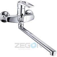 Смеситель для ванны Zegor Z63-SWF7-A113 с душем однорычажный с длинным гусаком цвет хром