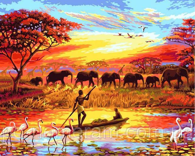 Панорамная картина слоны