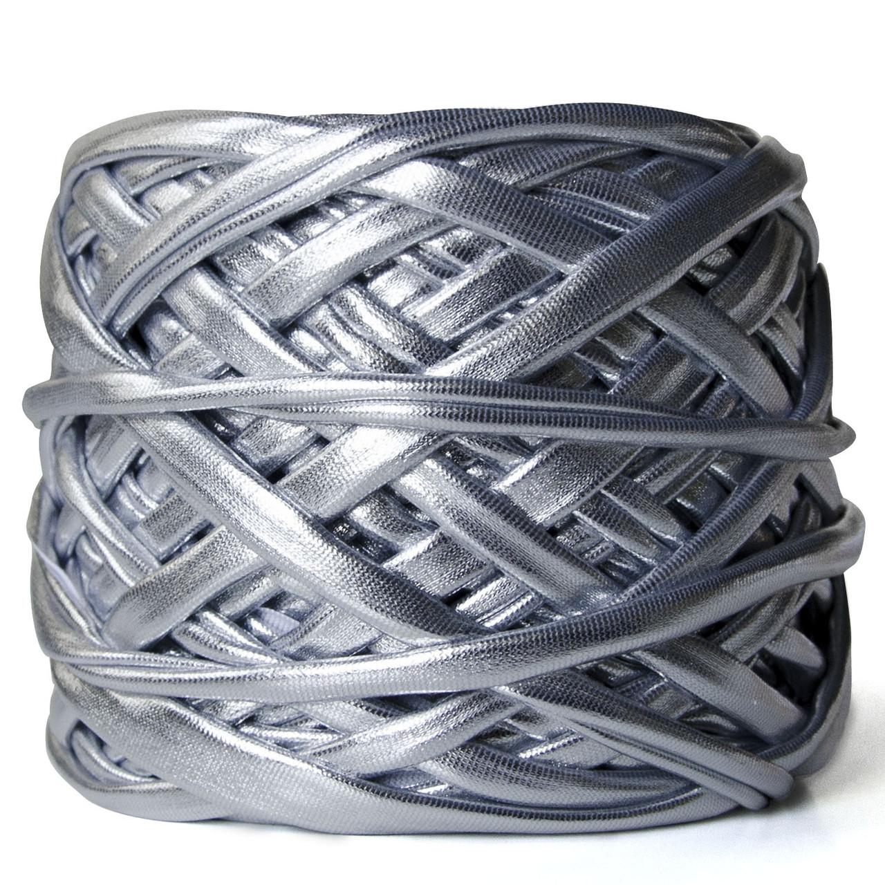 Трикотажная пряжа Pastel XL Металлик Серебро 5-8 мм (40 м)