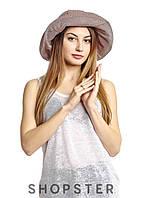 :Женская шляпка с полями из хлопковой ткани бежево-вишневая