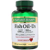 Natures Bounty, Рыбий жир + D3, 90 быстро высвобождаемых мягких капсул