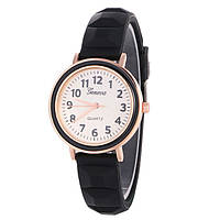 Часы женские Женева Geneva силиконовые черные 123-6