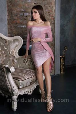 Платье асимметричное люрекс с открытыми плечами