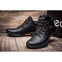 Мужские кожаные зимние ботинки Ecco  черные 40 41 42 43 44 45