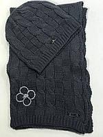 Комплект шапка и шарф серый в стиле Louis Vuitton, фото 1