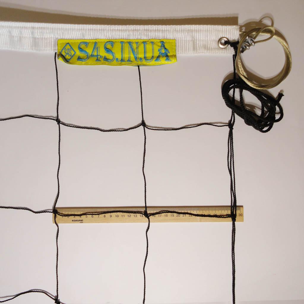 Сетка для волейбола «ПРЕМИУМ 15» с тросом черно-белая