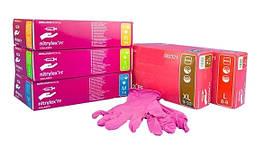 Перчатки нитрил розовые Mercator Medical Collagen 50пар/упак (S)
