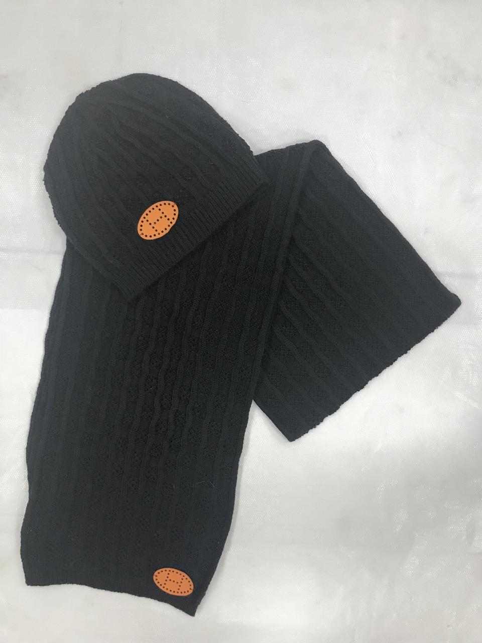 Комплект шапка и шарф серый в стиле Hermes