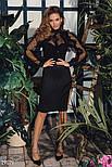 Черное эффектное платье с оборками, фото 5