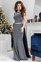 Вечірнья довга сукня-годе з люрексовой ниткою та фатіну сріблясто-чорний розмір  44 46 0f75fc598d99a