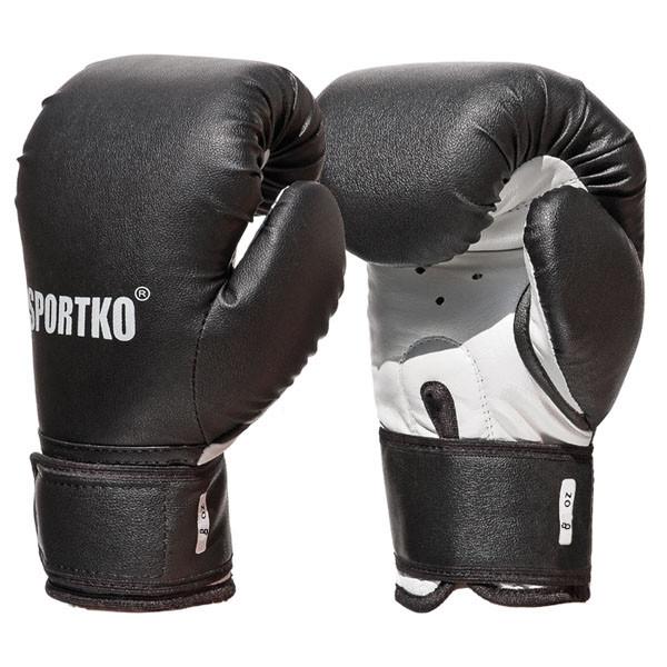 Боксерські рукавички SPORTKO арт. ПД2-8-OZ (унцій) чорний