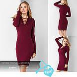 Бордовое платье-миди на шнуровке, фото 4