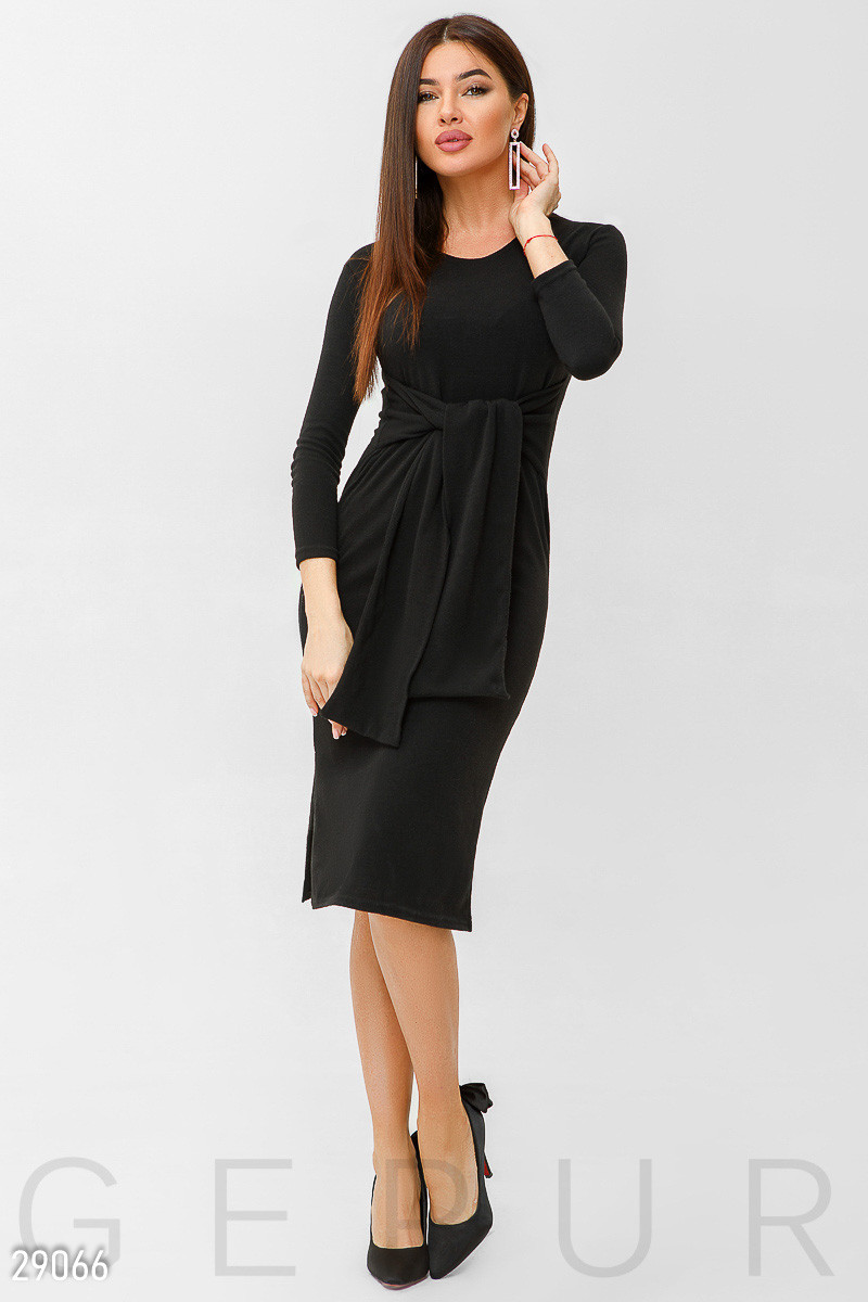 36a38f95e1d372e Черное Трикотажное Платье-миди — в Категории