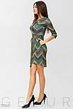 Стильное зеленое платье-миди с принтом, фото 2
