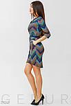 Стильное голубое платье-миди с принтом, фото 2
