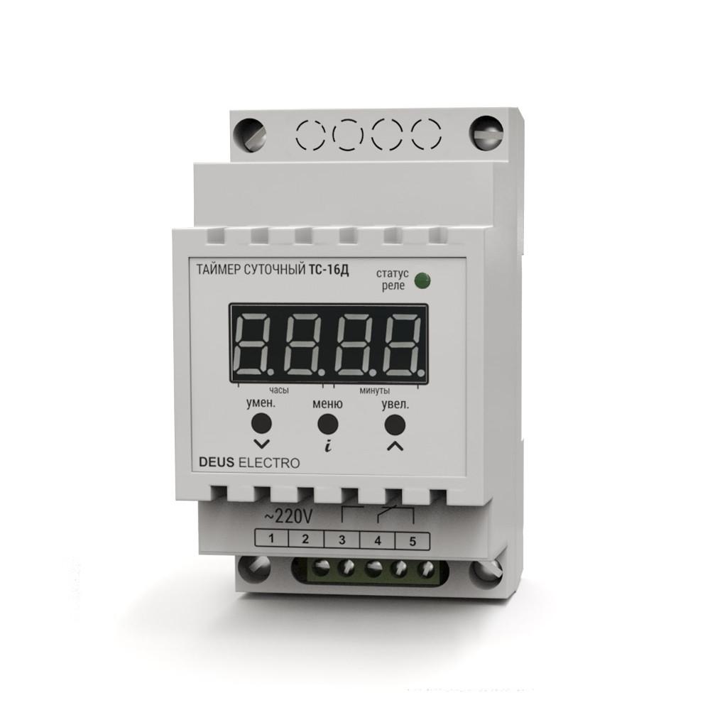 Таймер электронный Deus Electro ТС-16Д суточный 16А одноканальный на DIN-рейку