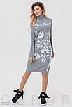 Теплое платье серого цвета с белым орнаментом, фото 2