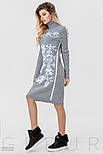 Теплое платье серого цвета с белым орнаментом, фото 3