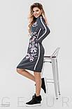 Теплое платье серого цвета с розовым орнаментом, фото 2