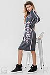Теплое платье серого цвета с розовым орнаментом, фото 3