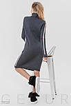Теплое платье серого цвета с розовым орнаментом, фото 4