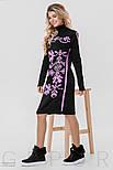 Теплое платье черного цвета с розовым орнаментом, фото 2