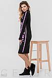 Теплое платье черного цвета с розовым орнаментом, фото 3