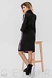 Теплое платье черного цвета с розовым орнаментом, фото 4