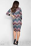 Фиолетовое платье-миди с геометрическим принтом, фото 3