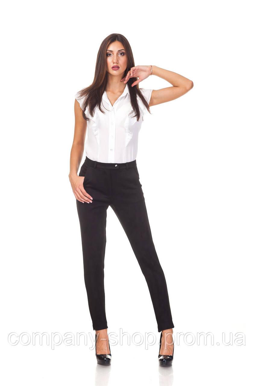 Классические зауженные женски брюки БР030_черный замш