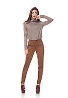 Классические зауженные женски брюки БР030_коричневый замш, фото 1