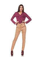 Классические зауженные женски брюки БР030_бежевый замш, фото 1