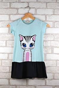 Платье для девочки Котик мятное возраст 3-4 года 98/104 см