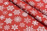 """Поплин с новогодним рисунком шириной 240 см """"Фигурные снежинки"""" белые на красном (№1604), фото 3"""
