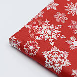 """Поплин с новогодним рисунком шириной 240 см """"Фигурные снежинки"""" белые на красном (№1604), фото 4"""