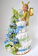 """Торт з памперсів """"Мрії"""" з метеликом Анна Геддес 120 штук"""