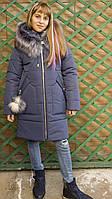 Модная удлиненная куртка с мехом для девочки интернет магазин фото