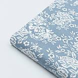 """Поплін шириною 240 см з малюнком """"Трояндочки на сітці"""" сіро-блакитного кольору (№1607), фото 2"""