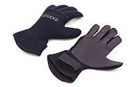 Перчатки для дайвинга LEGEND, неопрен, 3мм, р-р M-XL-8-11, черный (PL-6110)