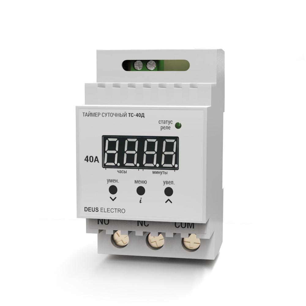 Таймер электронный Deus Electro ТС-40Д суточный 40А одноканальный на DIN-рейку