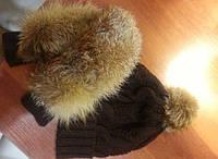 Женские шикарные теплые варешки и шапка с мехом (по отдельности)