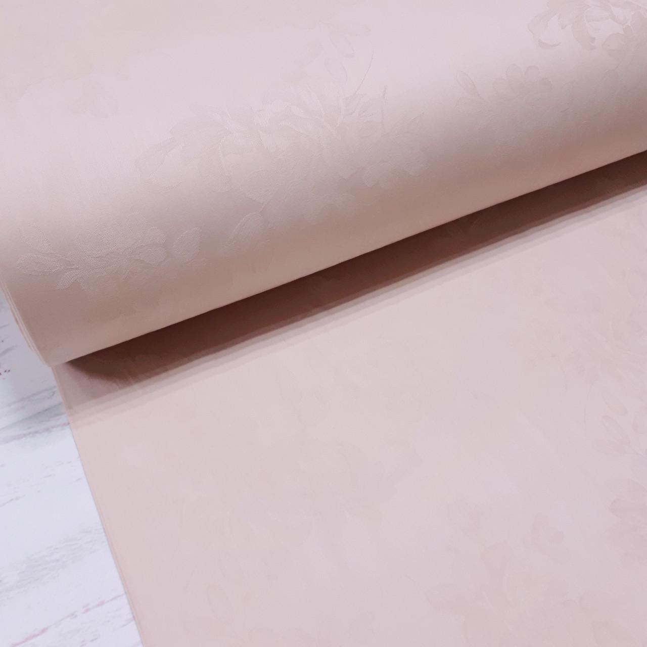 Ткань сатин с рисунком, веточки с цветами пудровые (ТУРЦИЯ шир. 2,4 м)