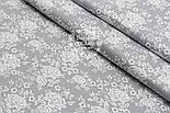 """Поплін шириною 240 см з малюнком """"Трояндочки на сітці"""" сірого кольору (№1606), фото 4"""