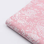 "Поплин шириной 240 см с рисунком ""Розочки на сетке"" розового цвета (№1605), фото 4"