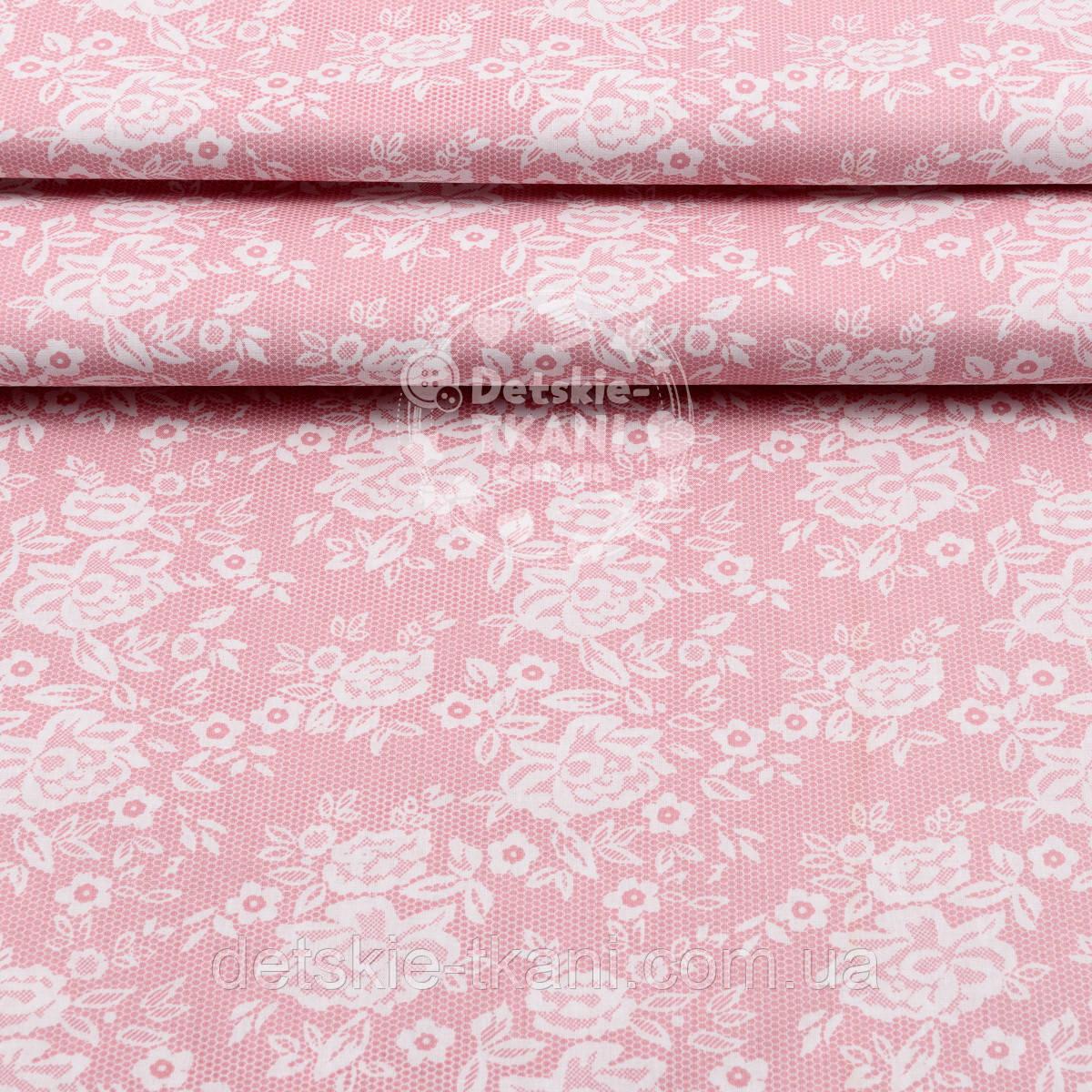 """Поплин шириной 240 см с рисунком """"Розочки на сетке"""" розового цвета (№1605)"""