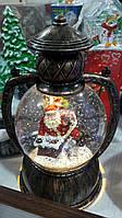 Новогодняя игрушка со снегом (лампа Санта Клаус на трубе)