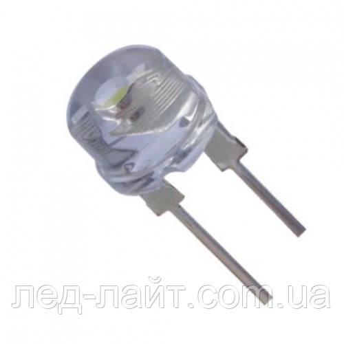 Светодиод 8мм белый (холодный) прозрачный 35Лм 120 градусов
